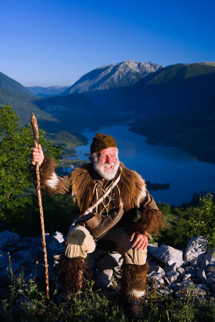 Barrea, Abruzzo, Italy, June 2008. Pasetta shows his secret places dressed in traditional wolf hunters costume. The owner of camping La Genziana, is the grandson of the last wolf hunter of the Abruzzo mountains. Nowadays the wolfs are protected by the national parks. Photo by Frits Meyst / meystphoto.com